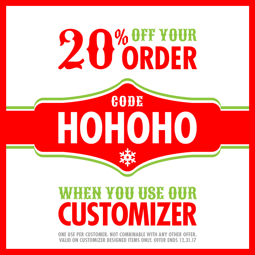 20% OFF Custom Stickers designed in our customizer tool