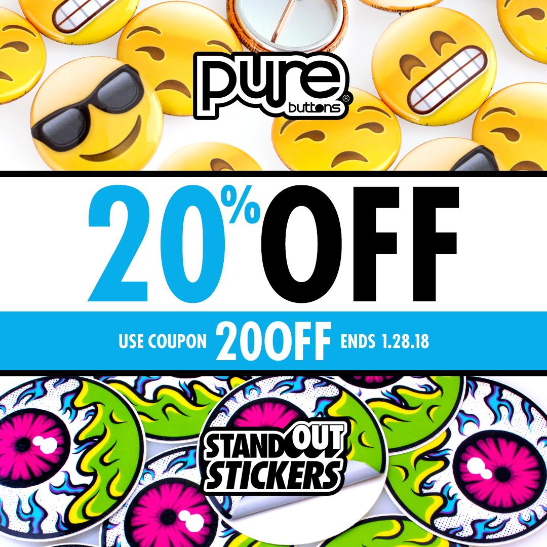 20% OFF Custom Stickers
