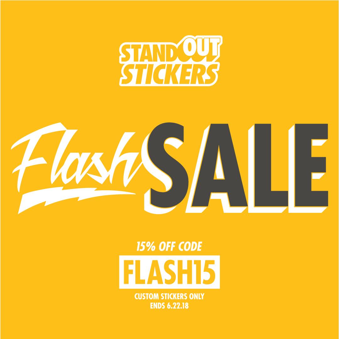 Flash Sale - 15% Off Custom Stickers