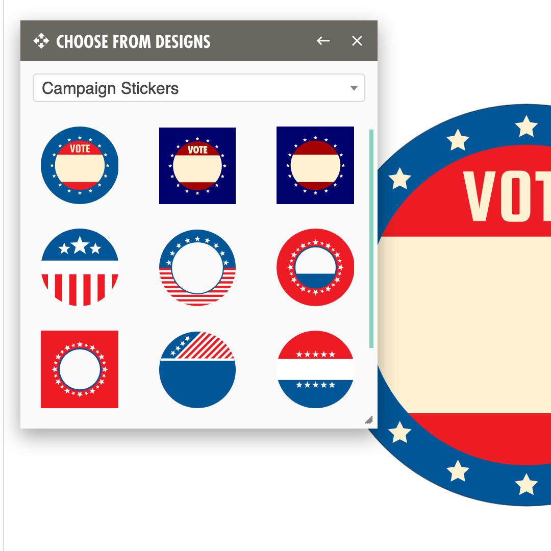 Campaign sticker designs added to our free online customizer tool.