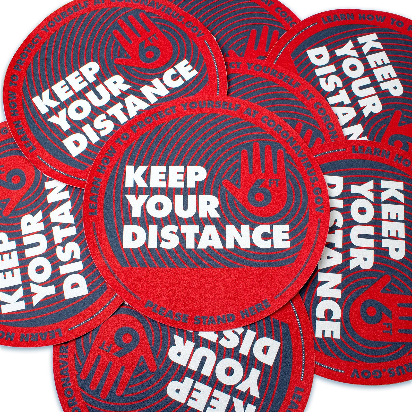 Keep Your Distance Floor Decals