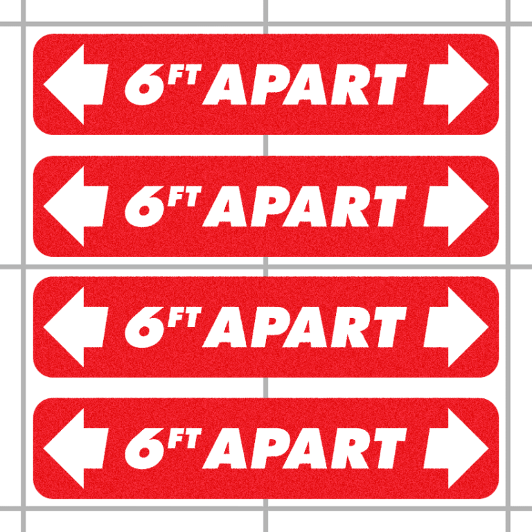 6ft Apart Social Distancing Floor Decals (4 Pack)