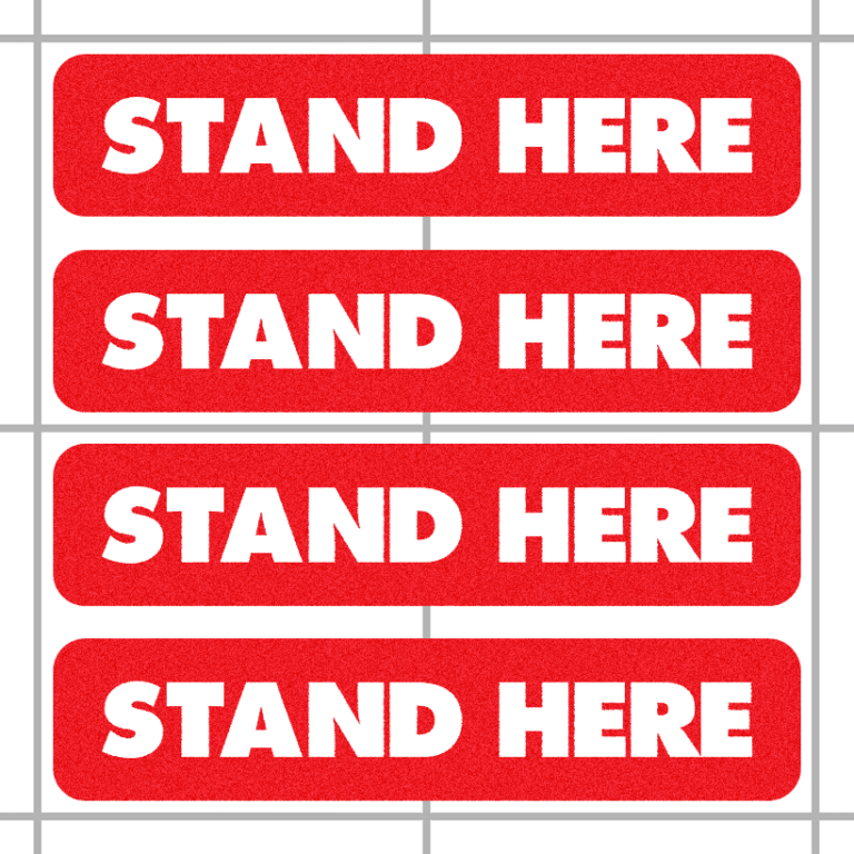 Stand Here Social Distancing Floor Decals (4 Pack)